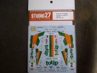 "STUDIO27【DC-1183】1/24 Delta HF Integrale 16v ""Totip"" #2 Rally Valeo 1989 Decal(H社対応)"