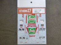 "STUDIO27【DC-1184】1/24 Civis""Castrol""#76/#77 National Saloon Car Cup 1993 Decal(A社対応)"