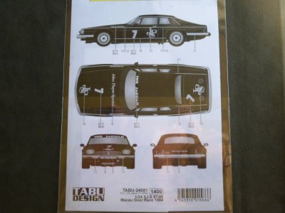 "画像2: TABU DESIGN【24081】1/24 XJ-S ""JPS""#7/#8 Macau Gear Race 1984 Decal(H社対応)"